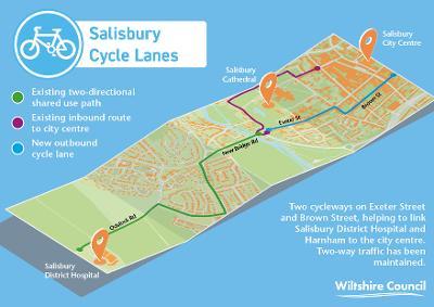 Salisbury cycle map Brown Street Exeter Street