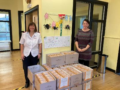 Chippenham Food Bank receiving the egg delivery from Stonegate.